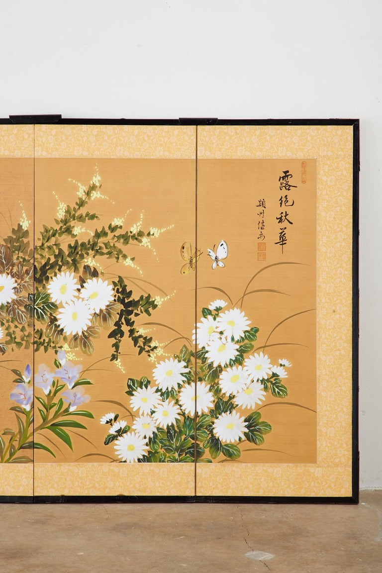 Lacquered Asian Four-Panel Screen or Autumn Flowers in Bloom For Sale