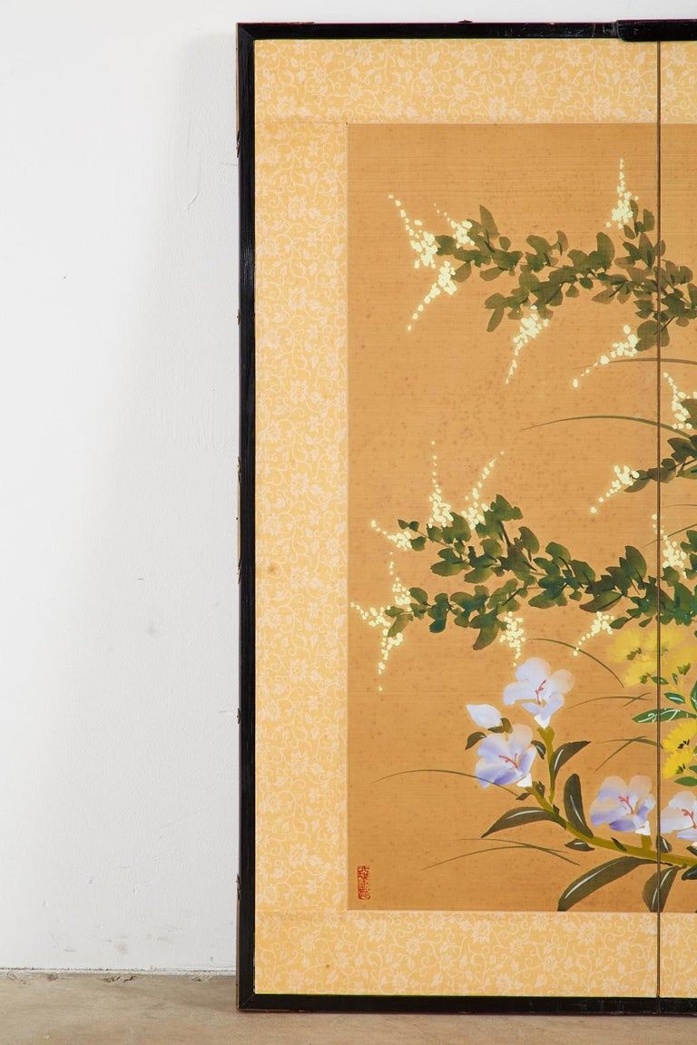 Asian Four-Panel Screen or Autumn Flowers in Bloom In Good Condition For Sale In Rio Vista, CA
