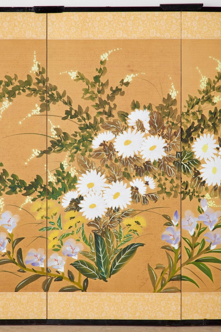 20th Century Asian Four-Panel Screen or Autumn Flowers in Bloom For Sale
