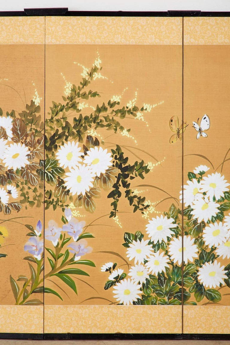 Brass Asian Four-Panel Screen or Autumn Flowers in Bloom For Sale