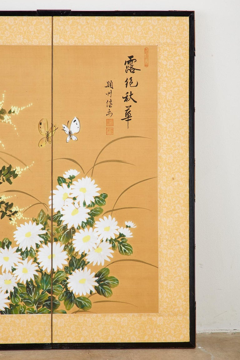 Asian Four-Panel Screen or Autumn Flowers in Bloom For Sale 1
