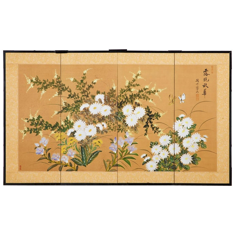 Asian Four-Panel Screen or Autumn Flowers in Bloom For Sale