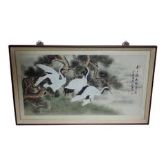 Asian Framed Crane Watercolor Painting