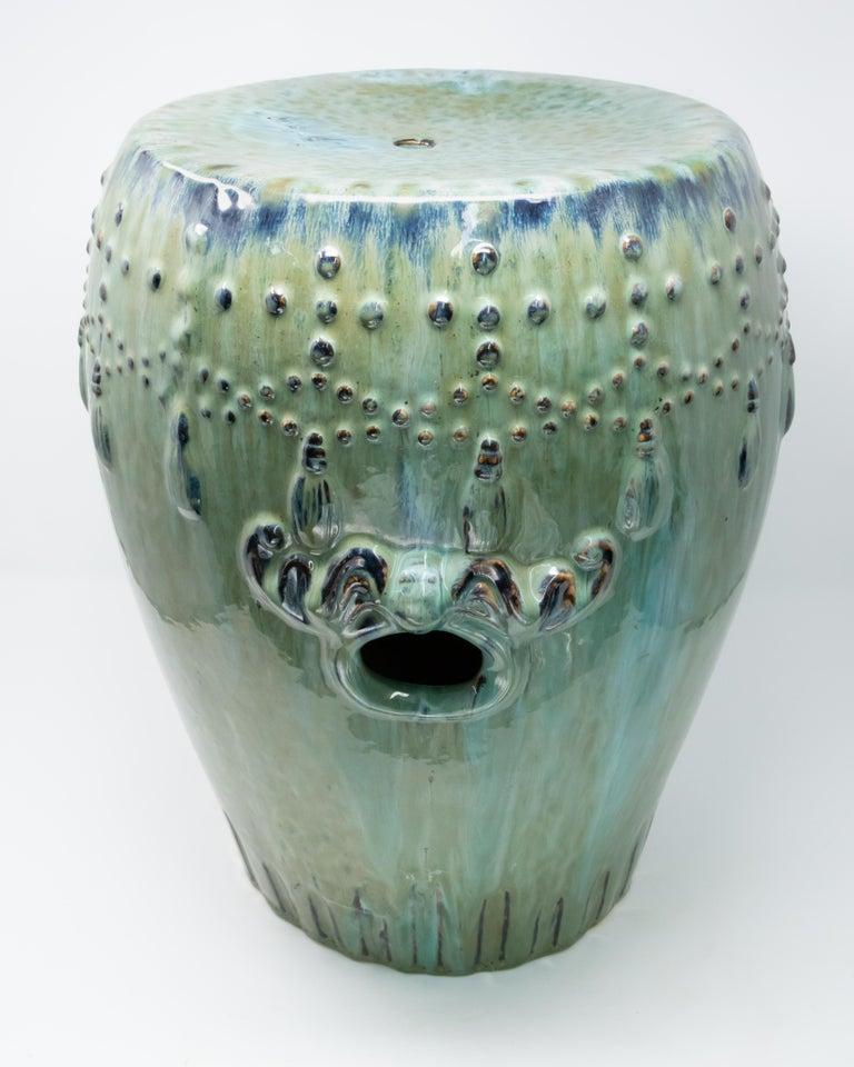 Glazed Asian Garden Stool For Sale