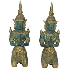 Asian Gilt Bronze Pair of Teppanom kneeling Thai Sacred Angels