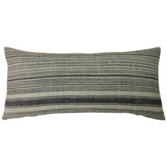 "Asian Green and Black Woven ""Melati"" Stripes Decorative Bolster Pillow"
