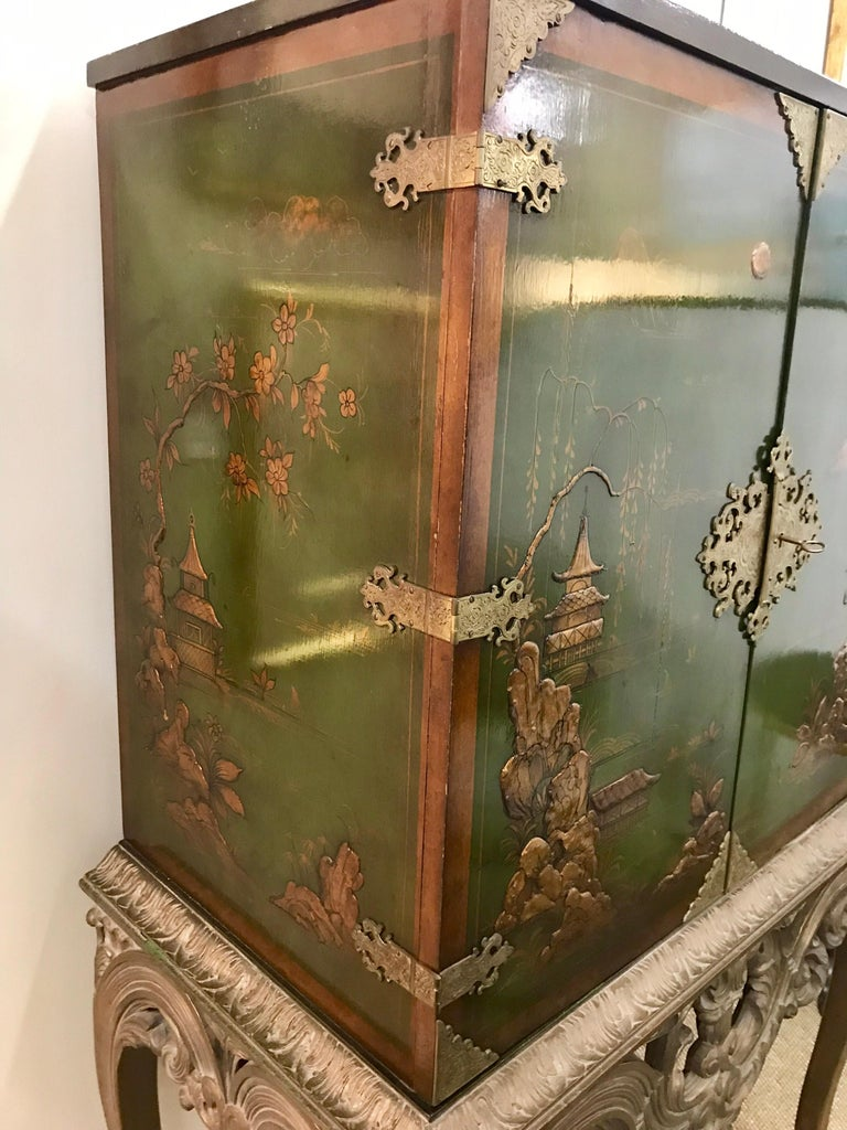 Asian Green Chinoiserie Cabinet Bar Sideboard Server