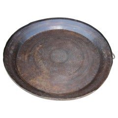 Asian Hammered Metal Bronze Oversized Urli Vessel with Handles South India