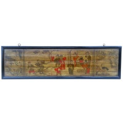 Asian Hand Painted Wood Panel
