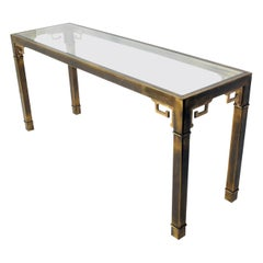 Asian Influenced Brass Console Table by Mastercraft