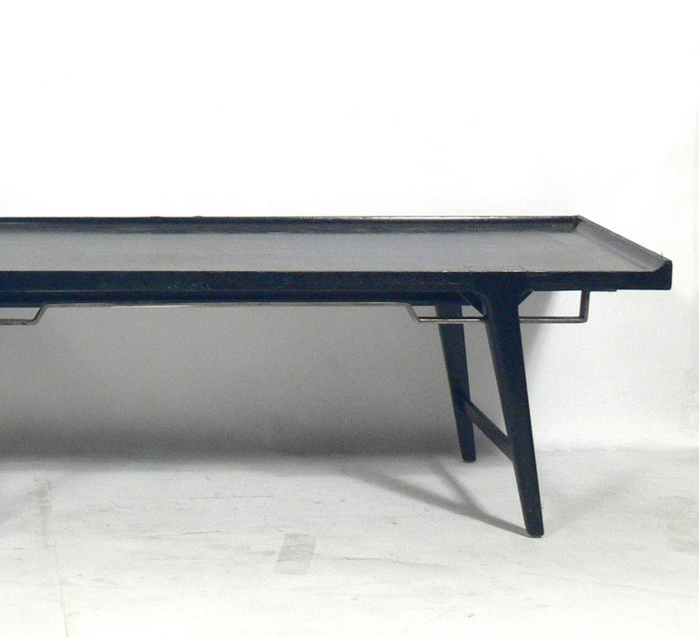 Chinoiserie Asian Influenced Mid-Century Modern Bench For Sale
