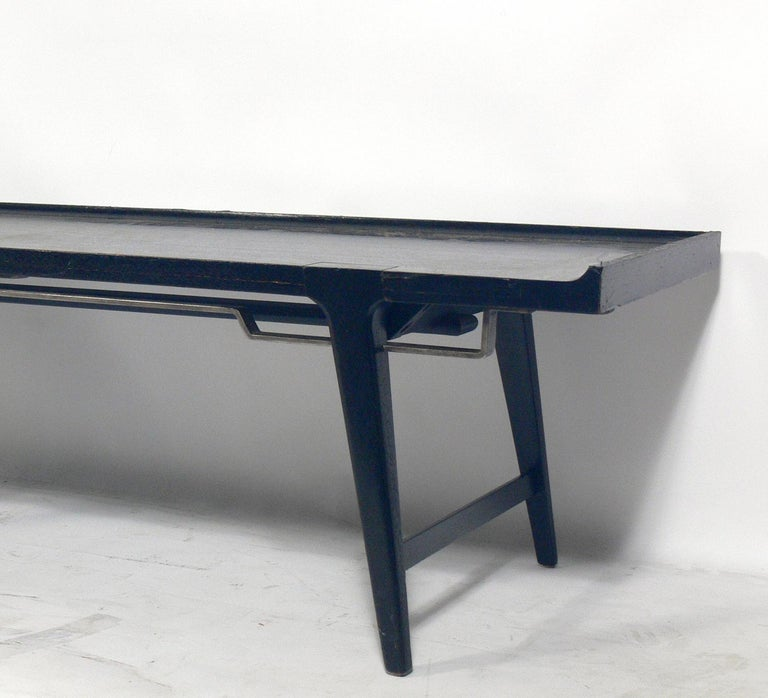 American Asian Influenced Mid-Century Modern Bench For Sale
