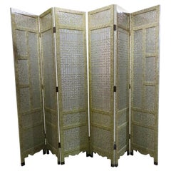 Paint Decorated 6 Panel Chinese Dressing Screen Room Divider Manner James Mont