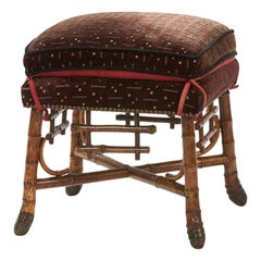 Asian Inspired Bamboo Stool, circa 1880