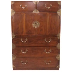 Asian Inspired Campaign Highboy Chest of Drawers, circa 1970s