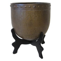 Asian Inspired Handcrafted Brass Planter and Stand