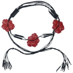 Asian Inspired Red Flower Black Swag Belt, C.1980