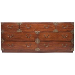 Asian Inspired Seven-Drawer Campaign Chest of Drawers, circa 1970s