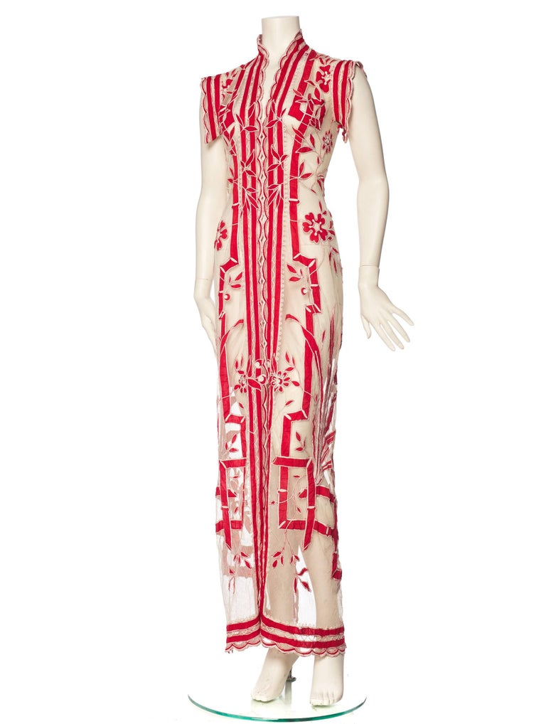 Asian Inspired Victorian Lace Dress For Sale 3