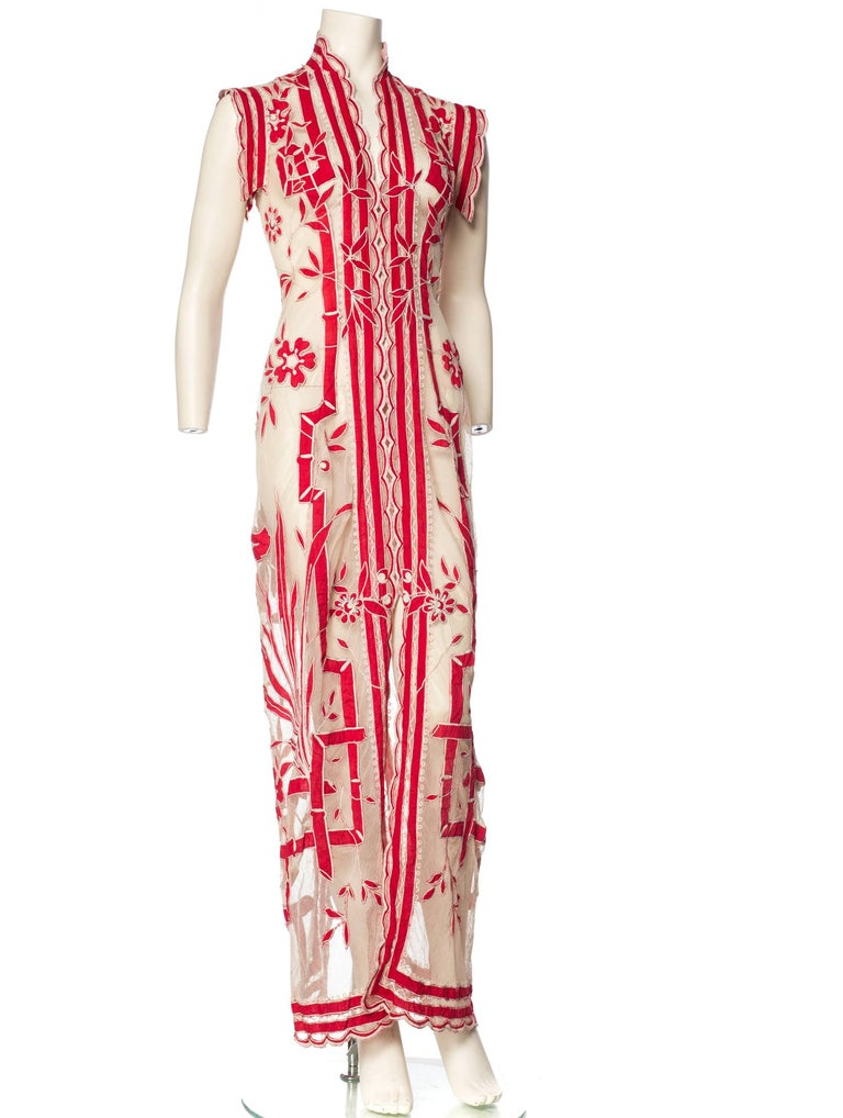 Asian Inspired Victorian Lace Dress For Sale 4