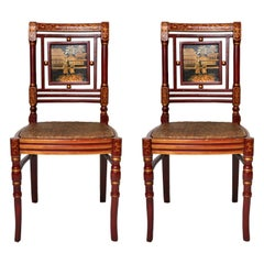 Asian Inspired Woven Side Chair, Pair