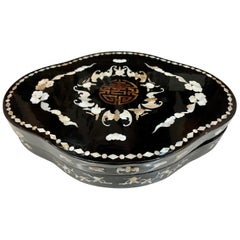 Asian Lacquered Mother of Pearl Biomorphic Jewelry Box
