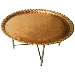 Asian Large Brass Tray Table on Folding Stand