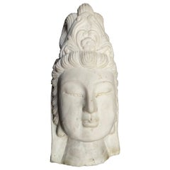 Asian Marble Quan Yin Buddha Bust or Head