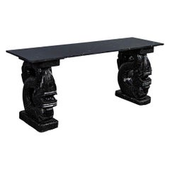 Asian Marble-Top Console with Carved Dragon Pedestals