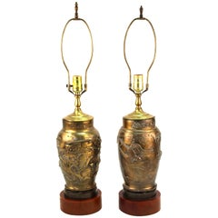 Asian Meiji Manner Brass Vase Table Lamps with Bakelite Bases