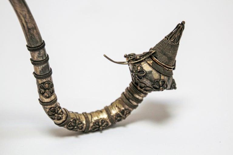 Asian Metal Filigree Ladies Opium Pipe For Sale 7