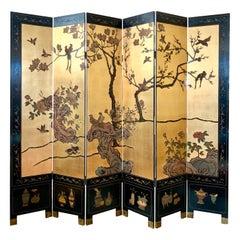 Asian Mid-Century Modern Era Carved Gold Leaf Room Divider Screen
