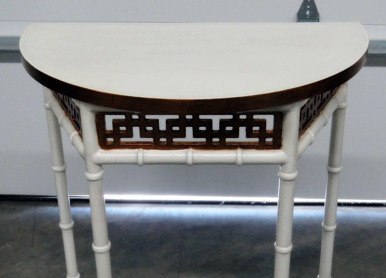 American Asian Modern Design Demilune Console Table For