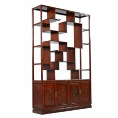 Asian Modern Freestanding Two-Piece Rosewood Room Divider Cabinet Bookshelf