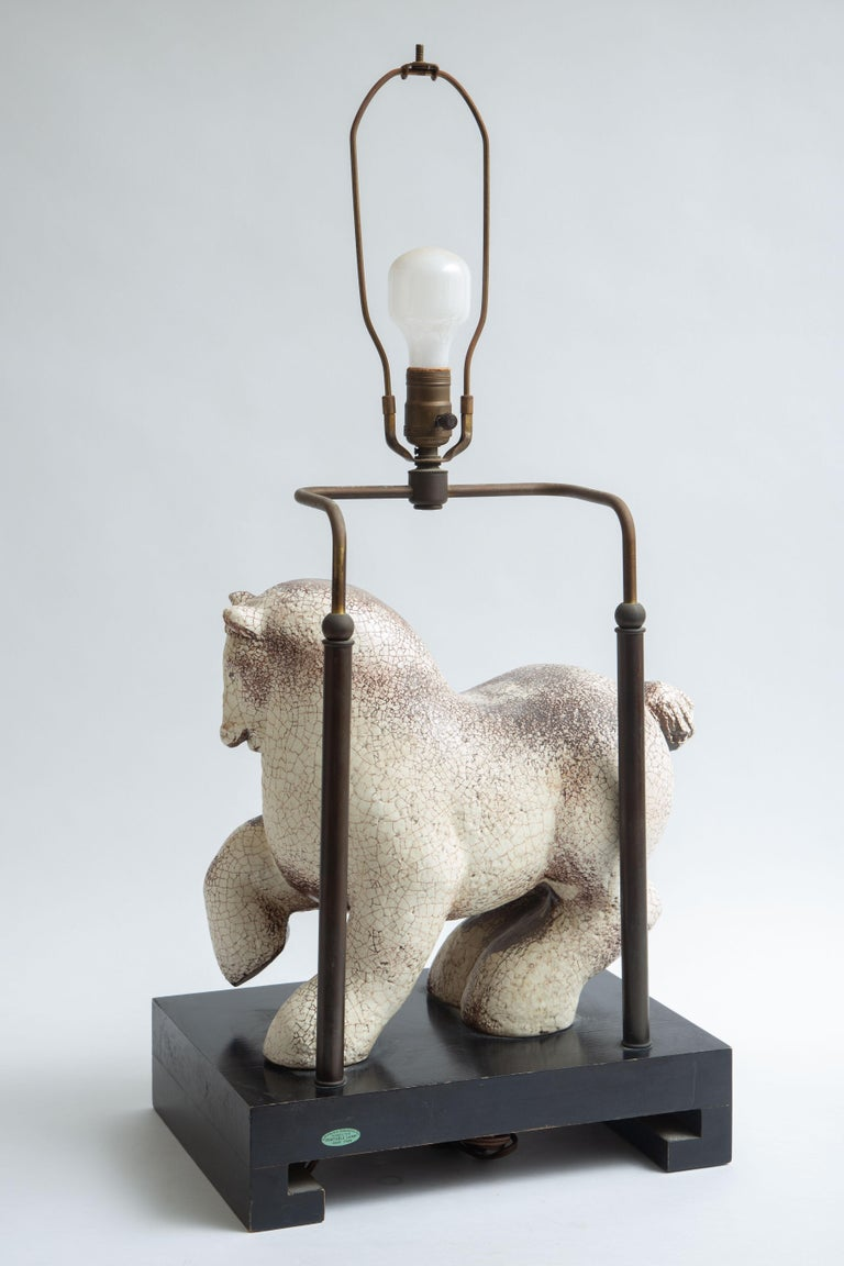 Asian Modern Horse Ceramic Table Lamp For Sale 5