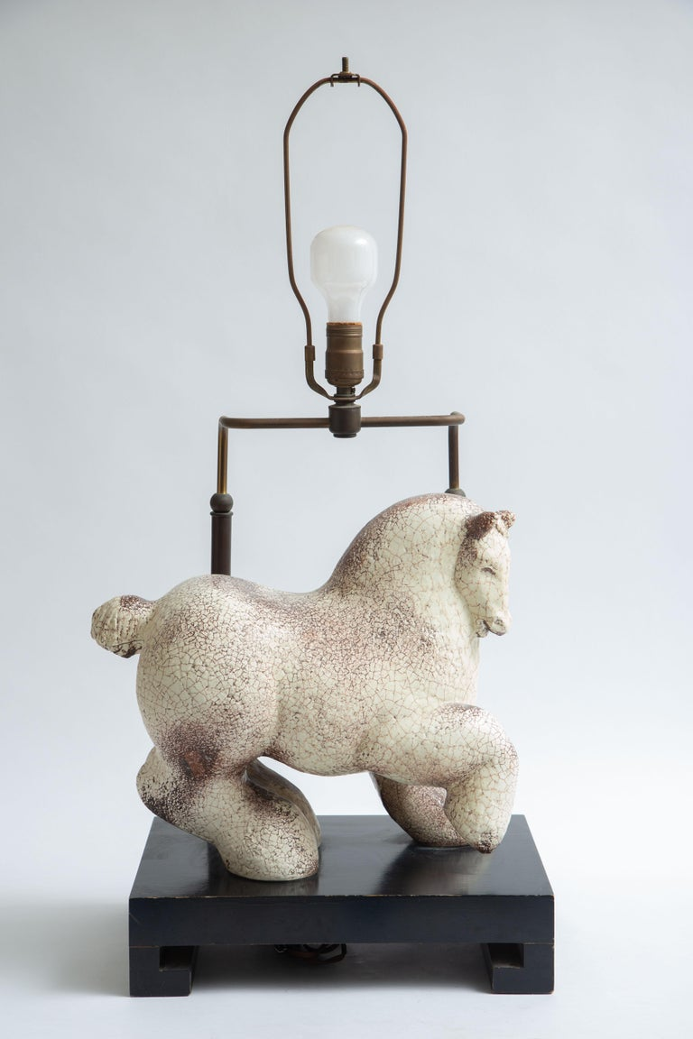 Mid-20th Century Asian Modern Horse Ceramic Table Lamp For Sale