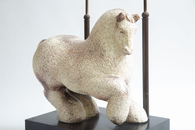 Asian Modern Horse Ceramic Table Lamp For Sale 1