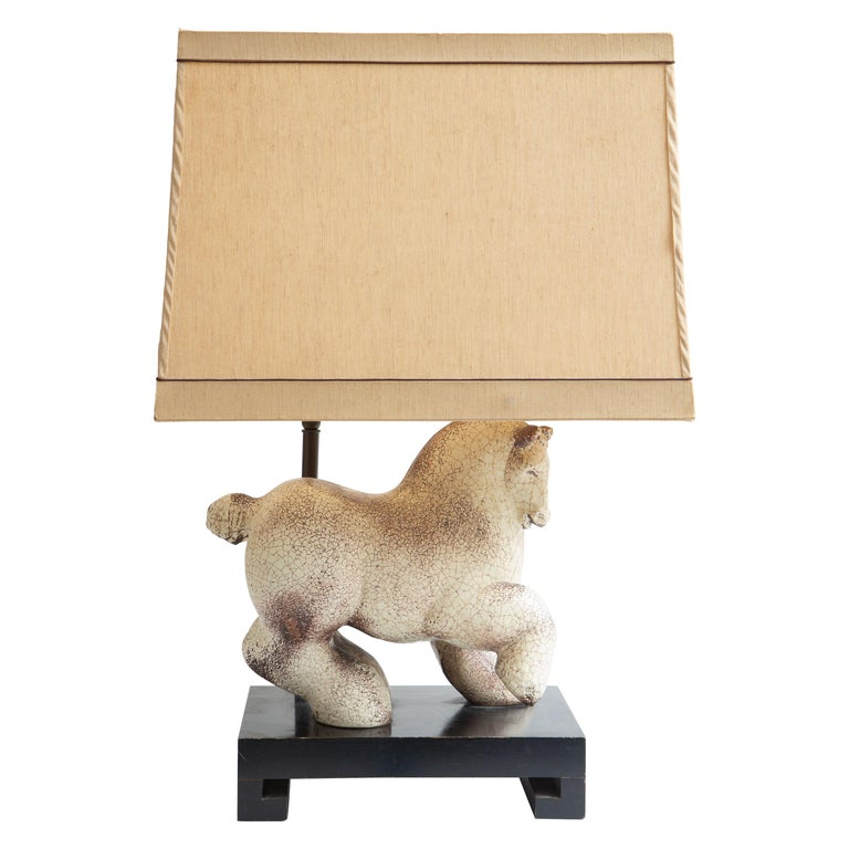 Asian Modern Horse Ceramic Table Lamp For Sale