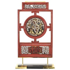 Asian Modern Lacquer Screen Element Mounted on Stand Attributed to Karl Springer