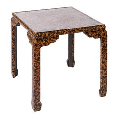 Asian Modern Oriental Oil Drip Lacquer Side / End Table by Baker Furniture