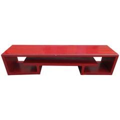 Asian Modern Paul Frankl Long Cinnabar Bench Mid-Century Modern