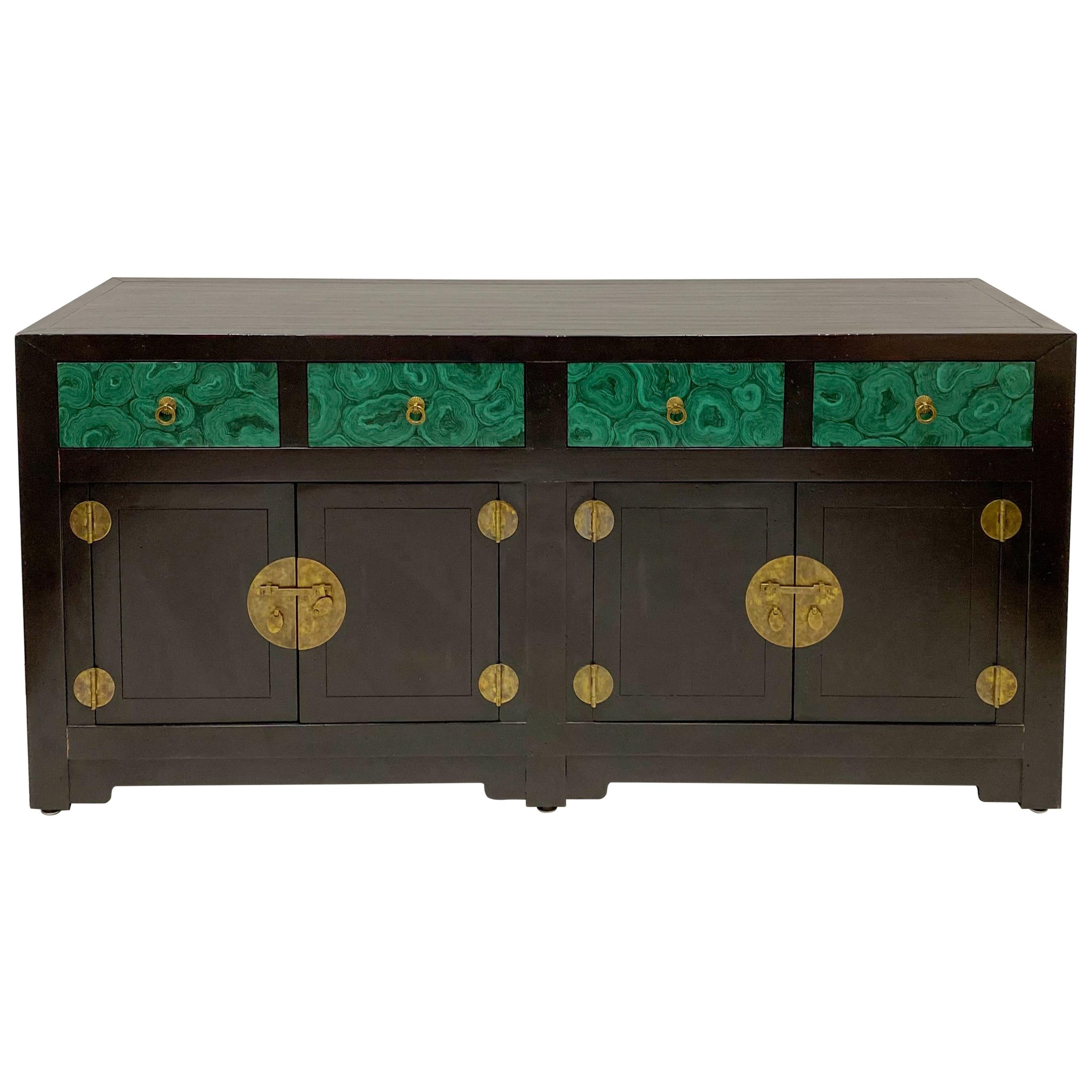 Asian Modern Style Credenza with Faux Malachite Accents by Henredon