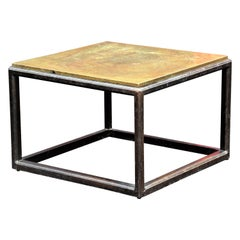 Asian Modern Style Walnut Base Copper Top Coffee Table