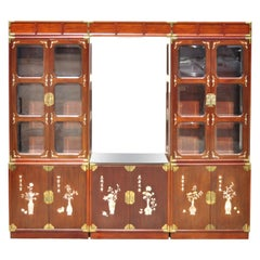 Asian Mother of Pearl Rosewood Cherry Lg China Cabinet Curio Display Wall Unit