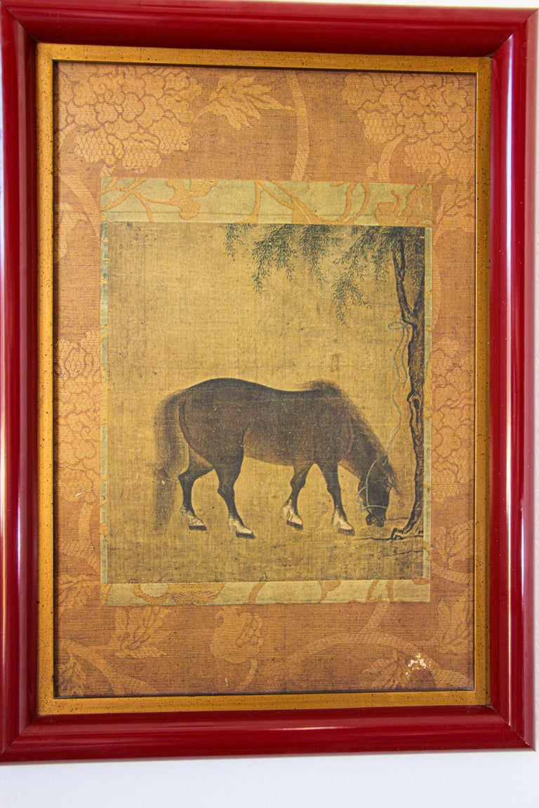 Asian Mughal style miniature print in a red wood frame. Indian Mughal School style lithograph miniature print study of a horse. Well framed, no glass. Size: 21