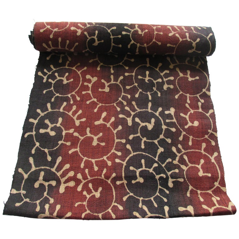 Asian Orange and Brown Woven Hand-Blocked Paisley Textile For Sale