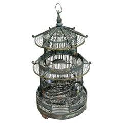 Oversized Asian Pagoda Three Level Bird Cage
