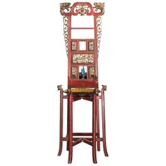 Asian Parcel Gilt and Red Painted Stand Cabinet