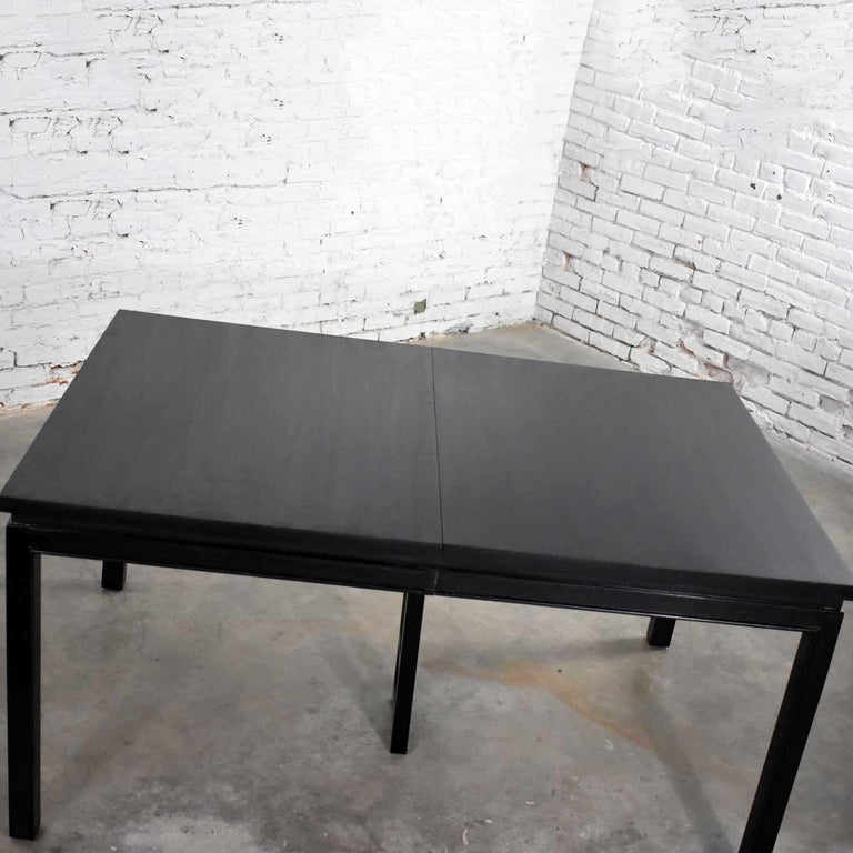 Mid-Century Modern Asian Parson Style Black Extension Dining Table with Two Aproned Leaves For Sale
