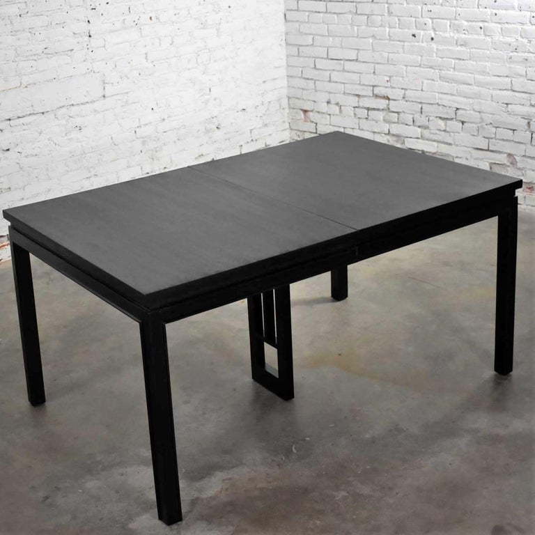 American Asian Parson Style Black Extension Dining Table with Two Aproned Leaves For Sale